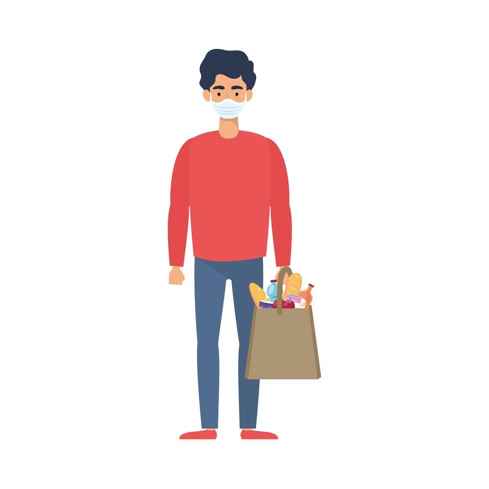 giovane uomo utilizzando maschera medica con borsa del supermercato vettore