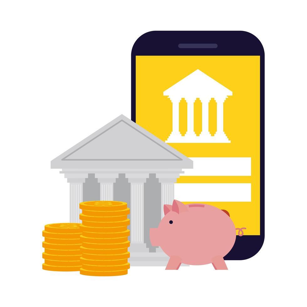 smartphone con banca, monete e disegno vettoriale salvadanaio