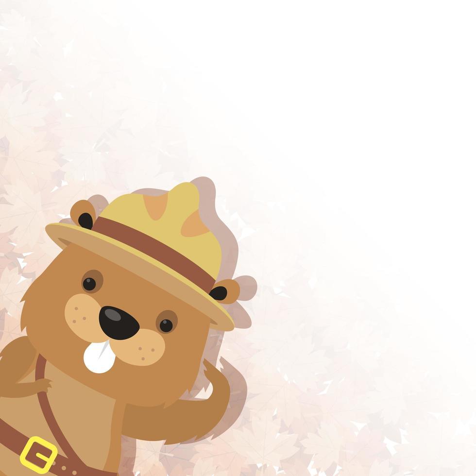 cartone animato carino castoro con disegno vettoriale cappello