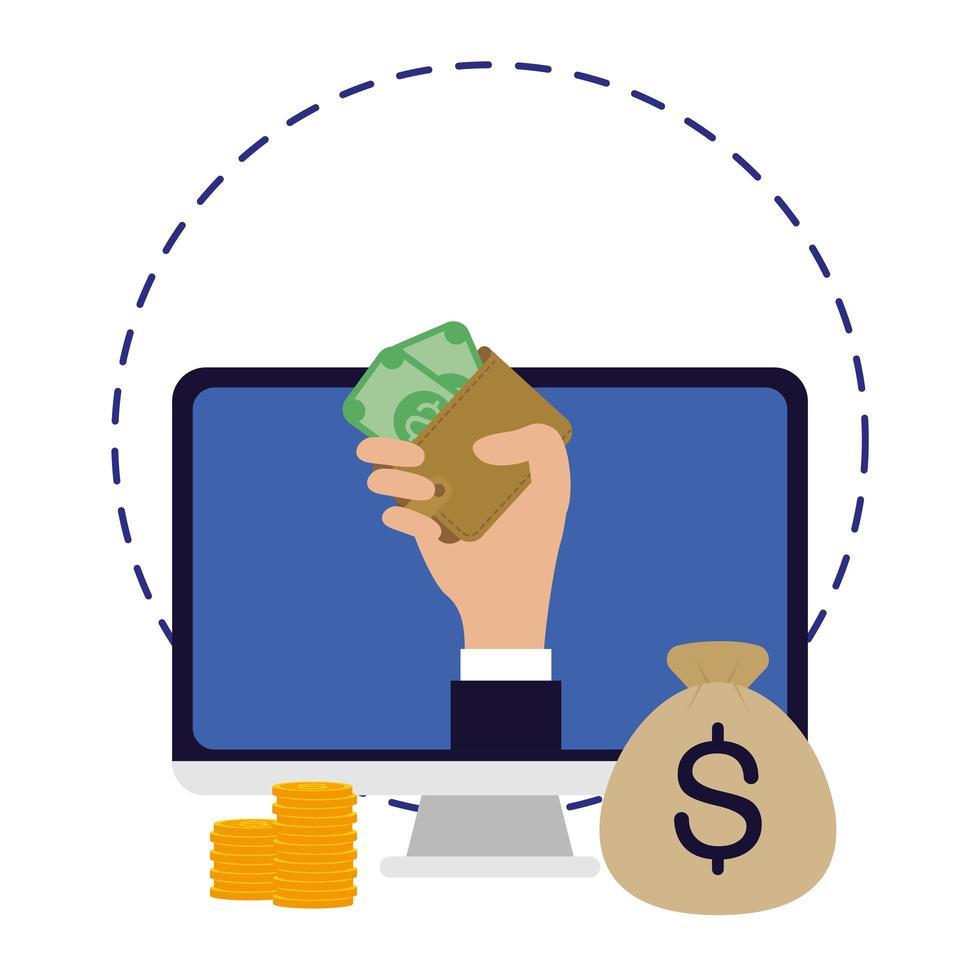 commercio elettronico in linea di affari nel desktop con soldi vettore