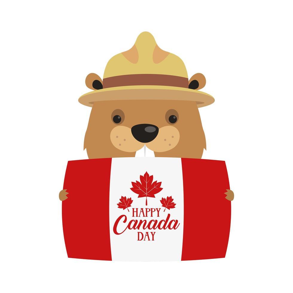 castoro canadese con cappello e bandiera del canada vettore