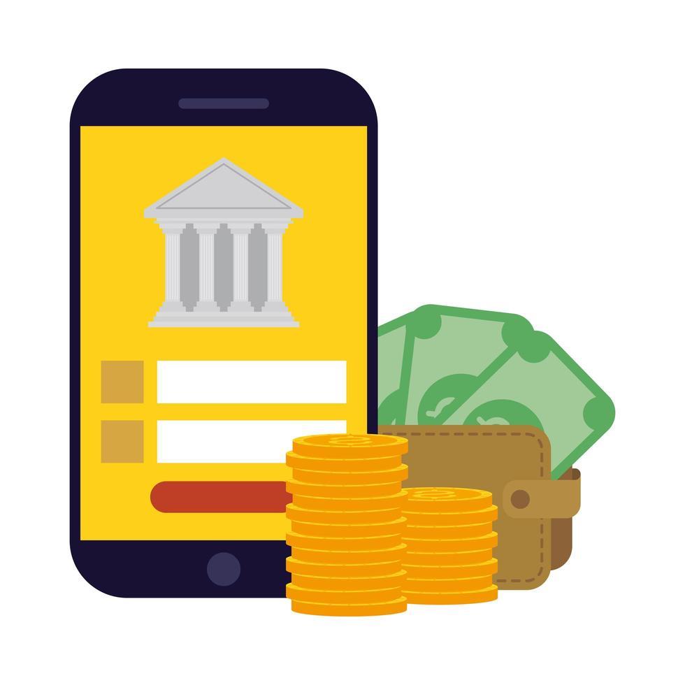 smartphone con banca e portafoglio con disegno vettoriale di banconote e monete