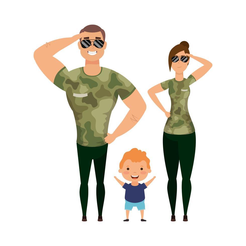madre, padre e figlio con magliette mimetiche e occhiali disegno vettoriale
