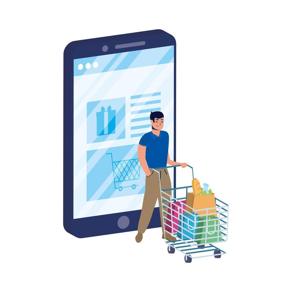 ecommerce online con smartphone e uomo con carrello vettore