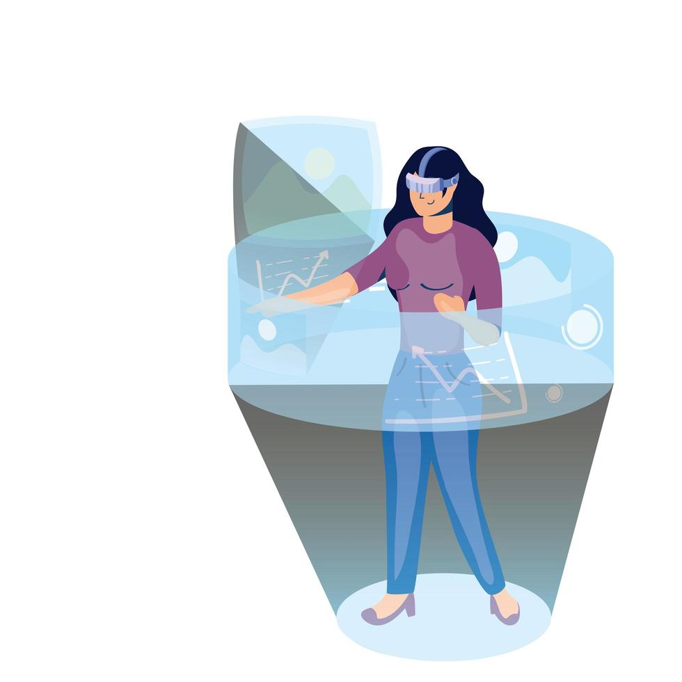 donna che utilizza la tecnologia di realtà virtuale nel display interattivo vettore