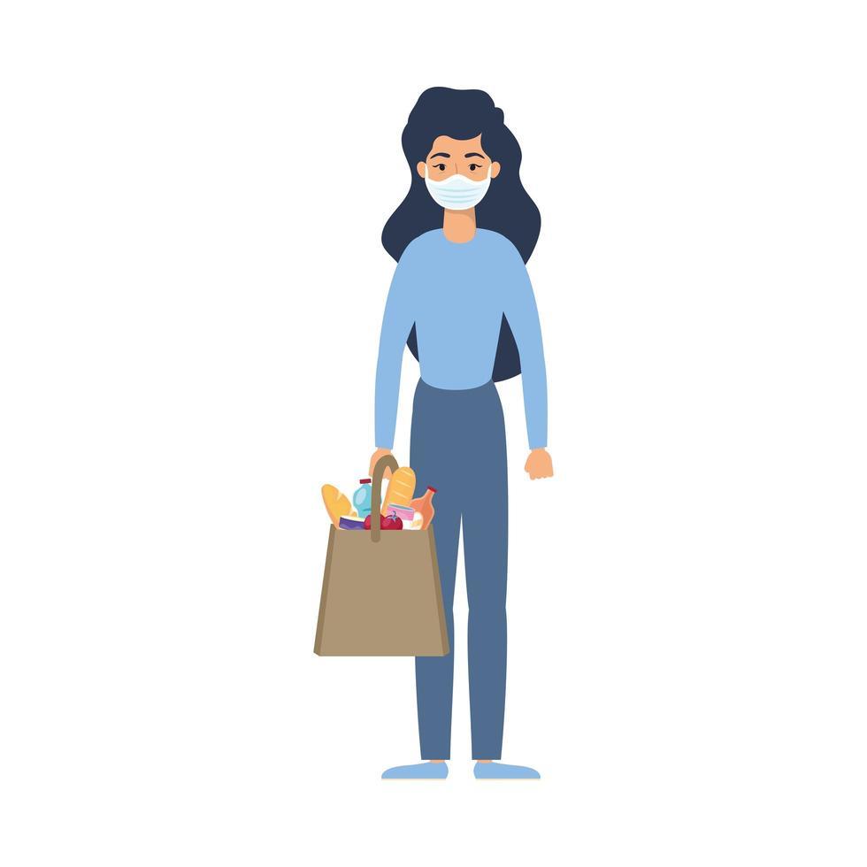 giovane donna utilizzando mascherina medica con borsa del mercato vettore