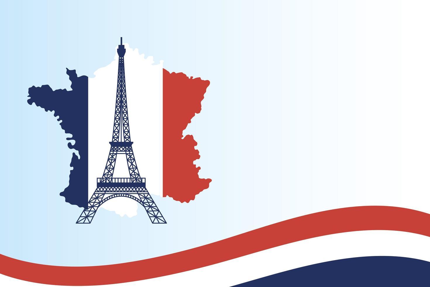torre eiffel con bandiera mappa della francia vettore