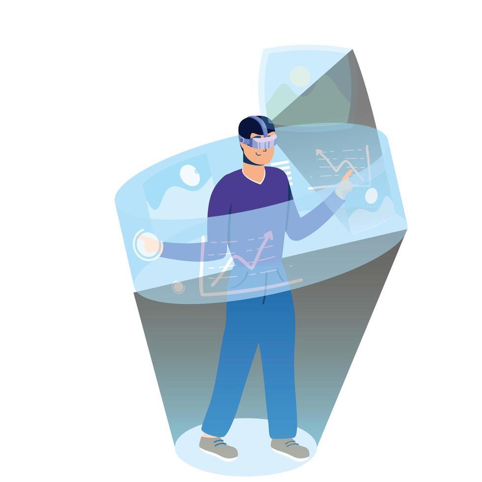 giovane che utilizza la tecnologia di realtà virtuale nel display interattivo vettore