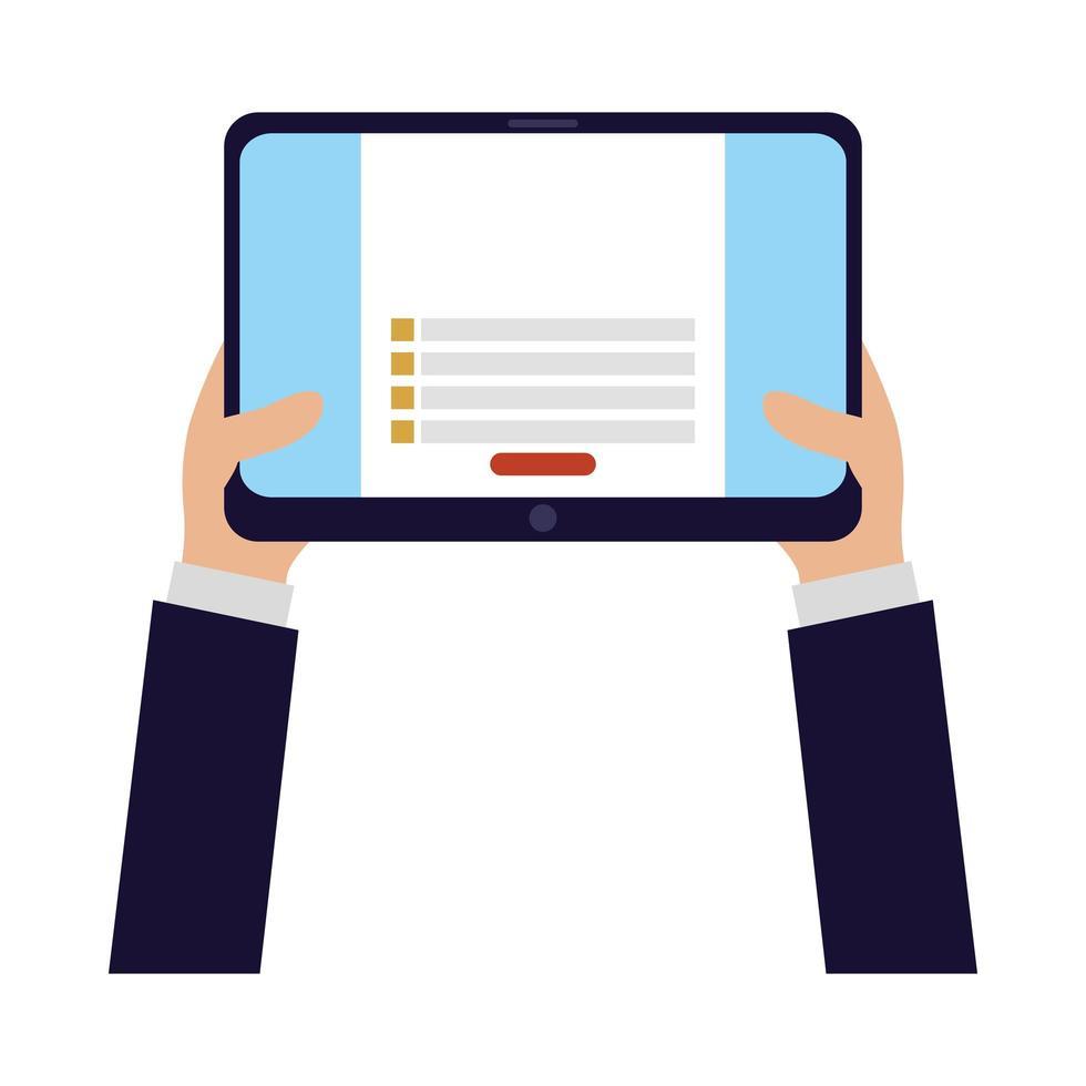 mani che tengono tablet disegno vettoriale
