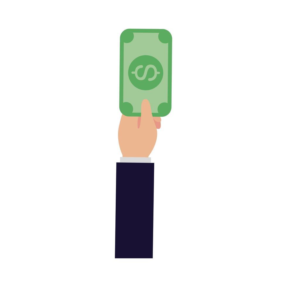 mano isolata che tiene la fattura del dollaro disegno vettoriale