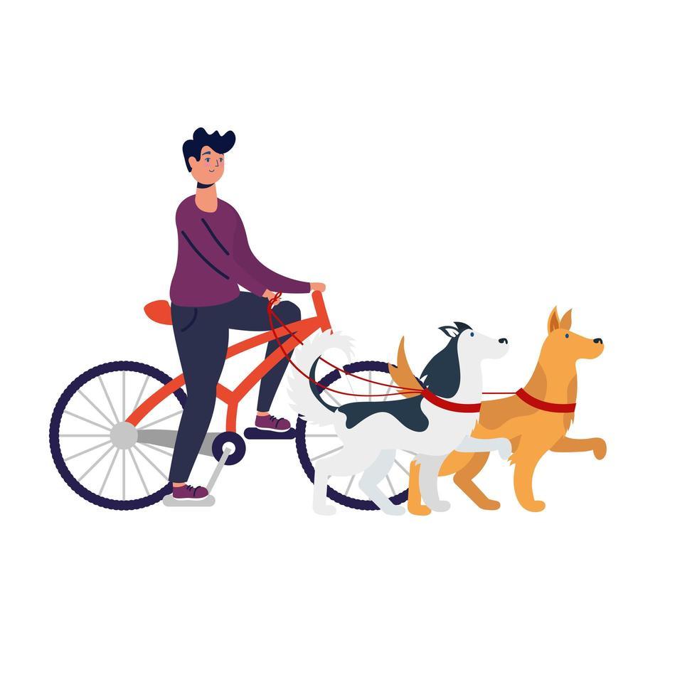 giovane uomo in bicicletta con i cani vettore