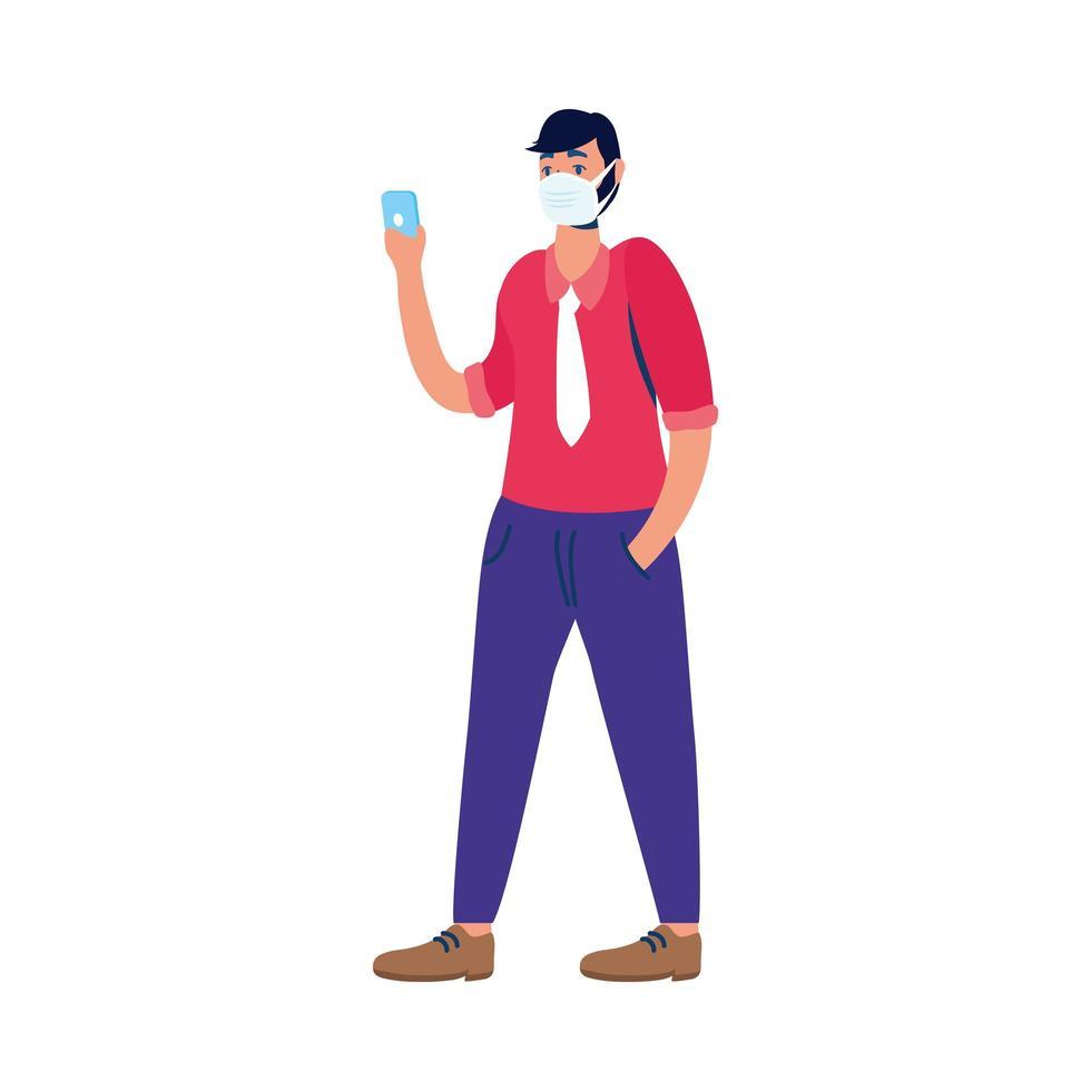 giovane uomo utilizzando mascherina medica con smartphone vettore