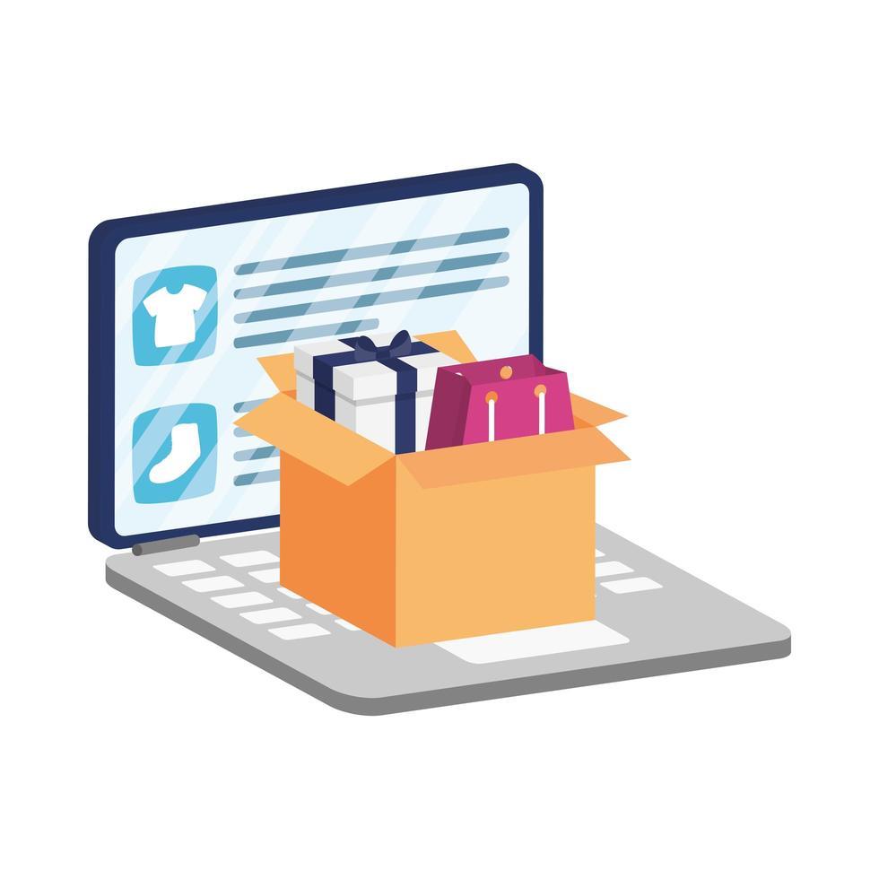 ecommerce online su laptop con scatola e borsa della spesa vettore