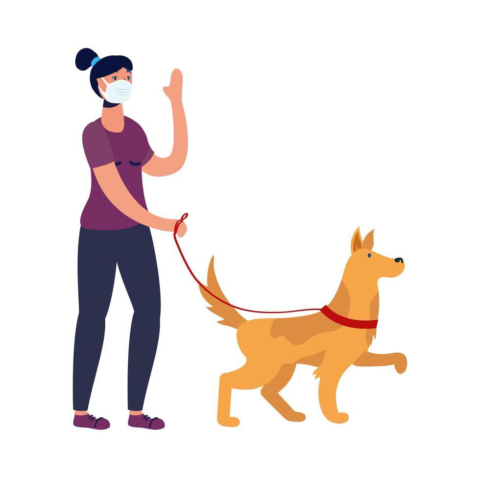 giovane donna che indossa una maschera e cane a piedi vettore