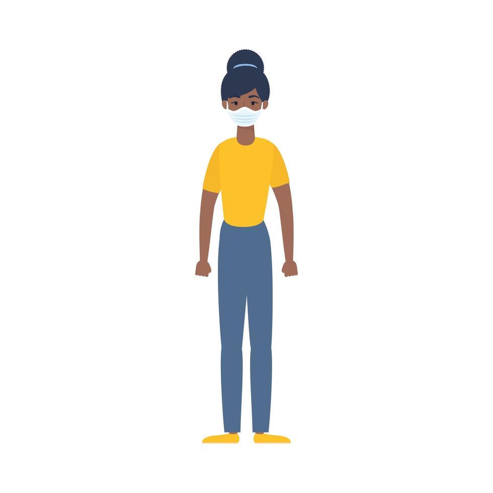 donna nera usando il carattere della maschera medica vettore