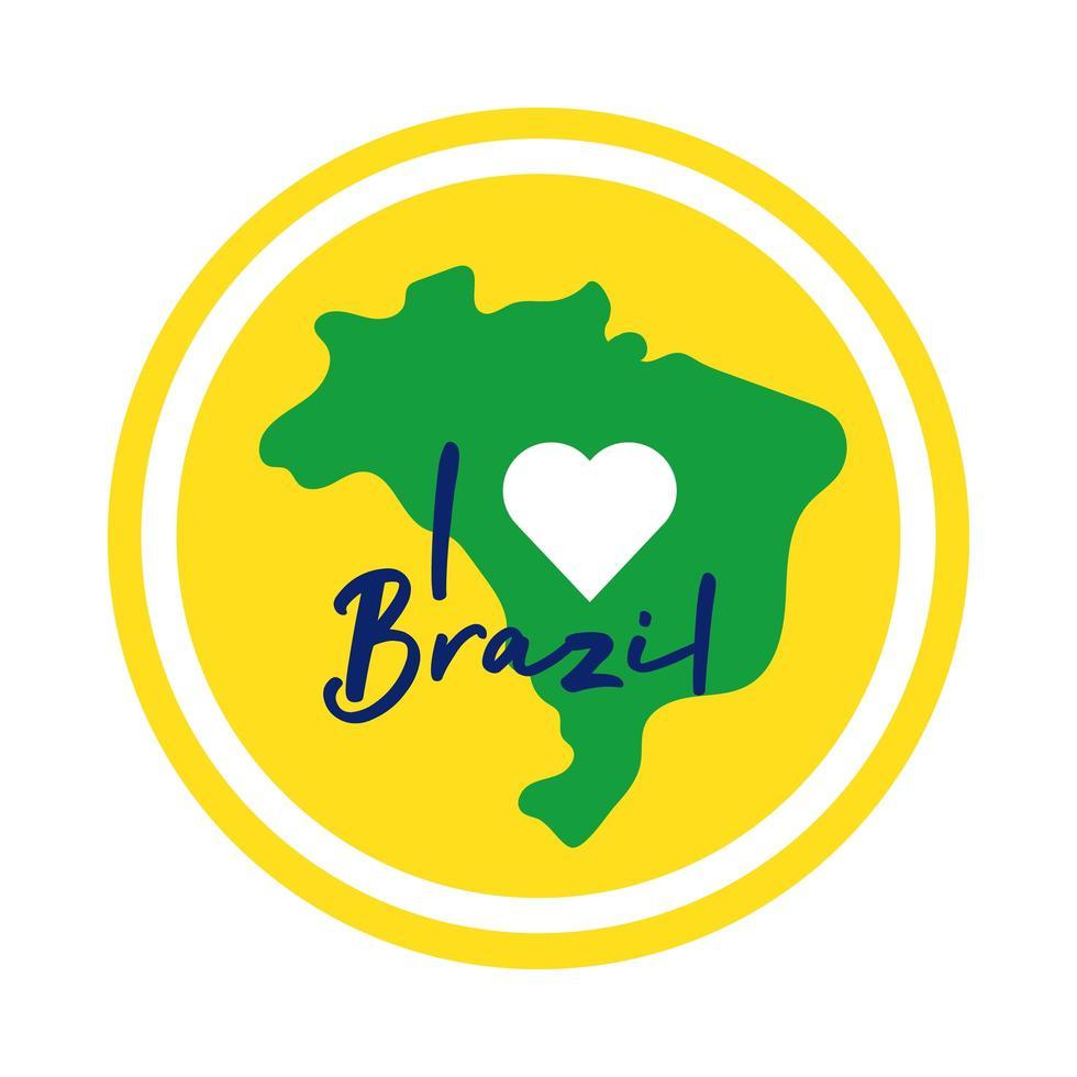 Amo il timbro del sigillo del Brasile con l'icona di stile piatto della mappa vettore