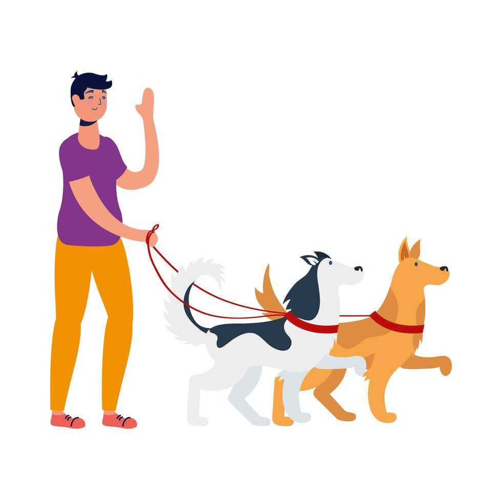 giovane che cammina con i cani vettore