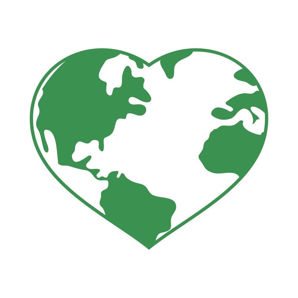 pianeta terra a forma di cuore vettore