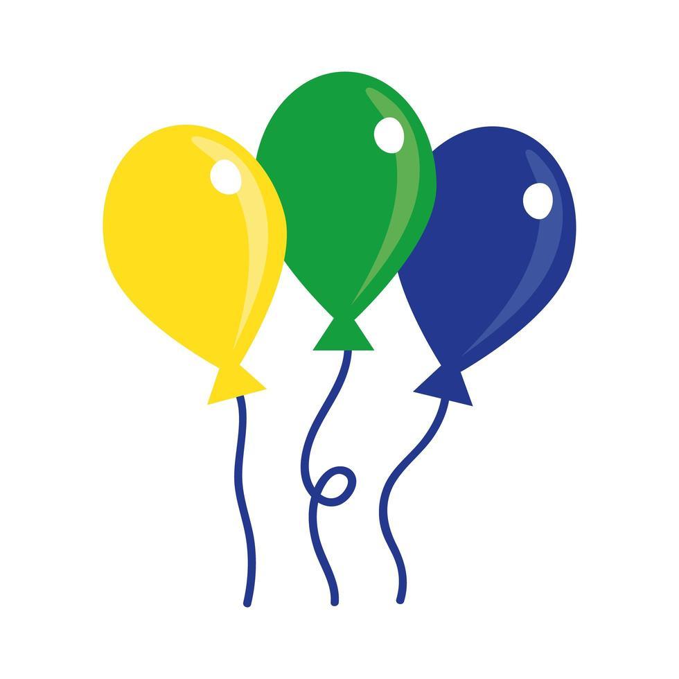 icona di stile piatto di palloncini festa galleggiante vettore