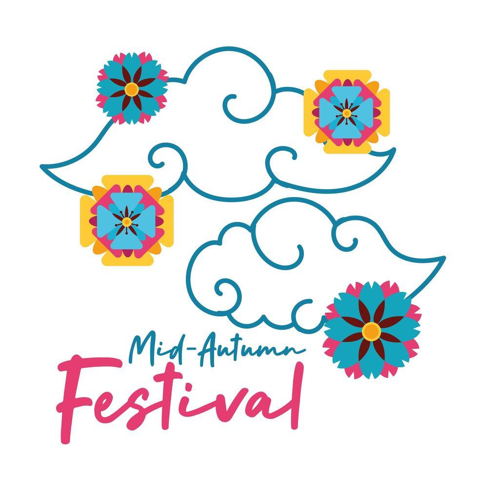 carta di festival di metà autunno con icona di stile piatto nuvole e fiori vettore