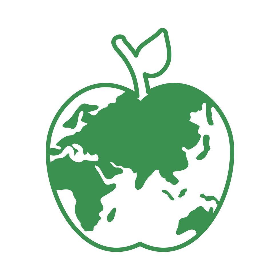 pianeta terra a forma di mela vettore