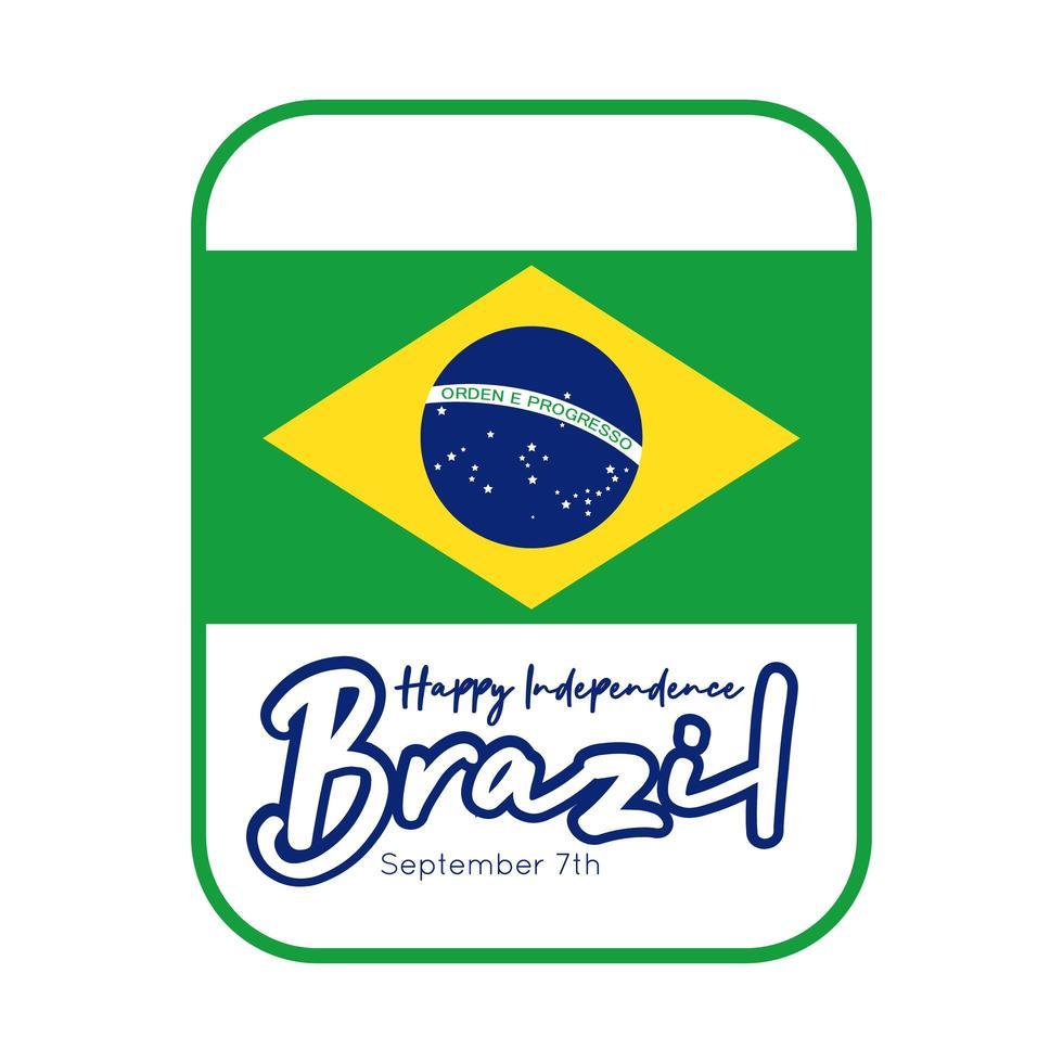 felice giorno dell'indipendenza brasile carta con stile piatto bandiera vettore