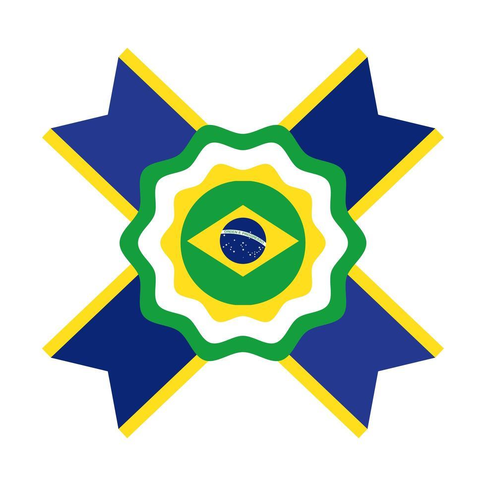 Bandiera del Brasile timbro sigillo piatto icona di stile vettore