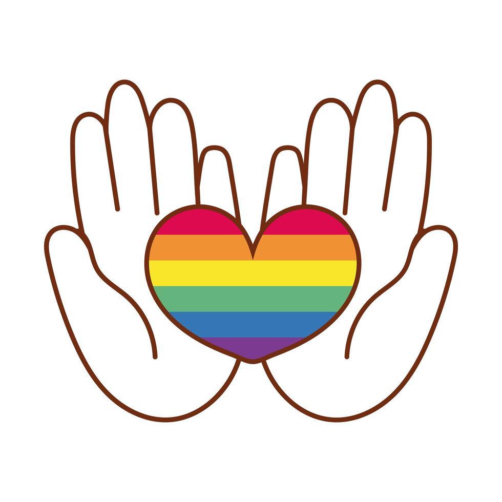 mani che sollevano il cuore con strisce di gay pride vettore