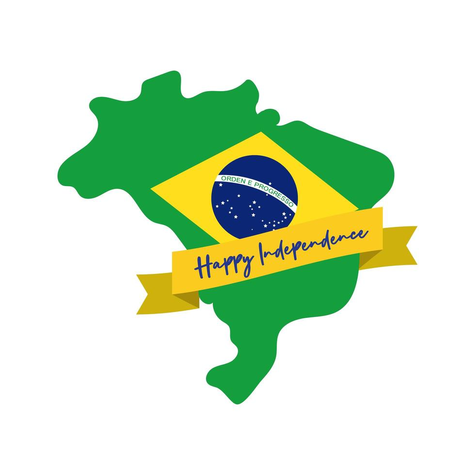 felice giorno dell'indipendenza brasile carta con bandiera in stile piatto mappa vettore