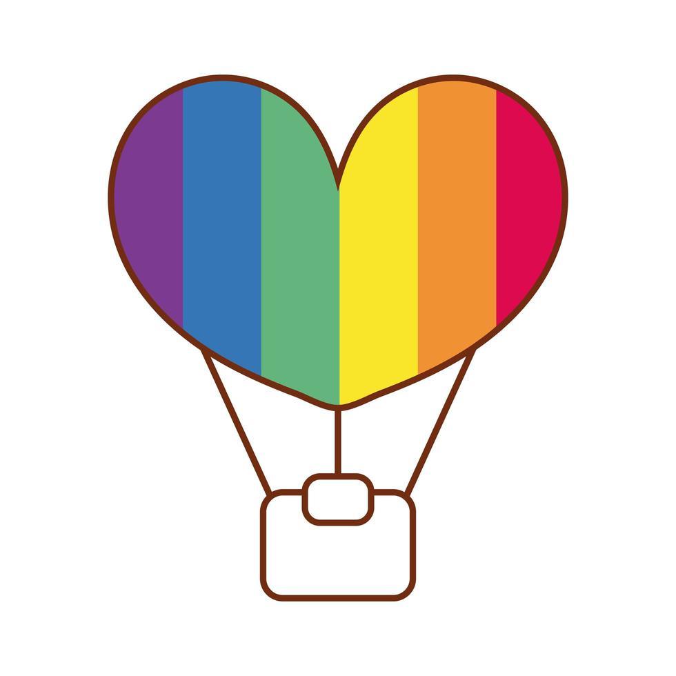 mongolfiera con strisce di gay pride vettore