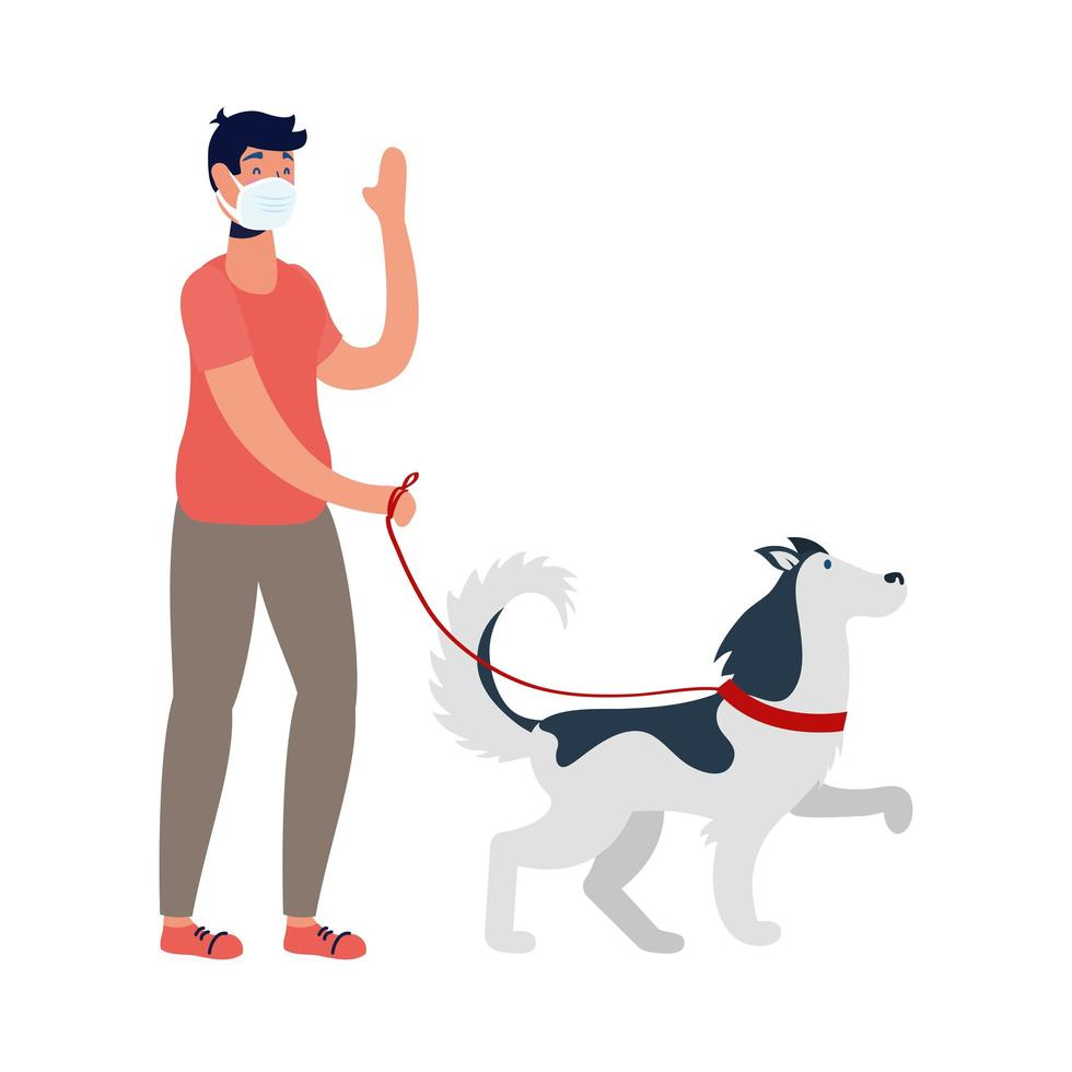 giovane uomo che indossa maschera medica e cane a piedi vettore