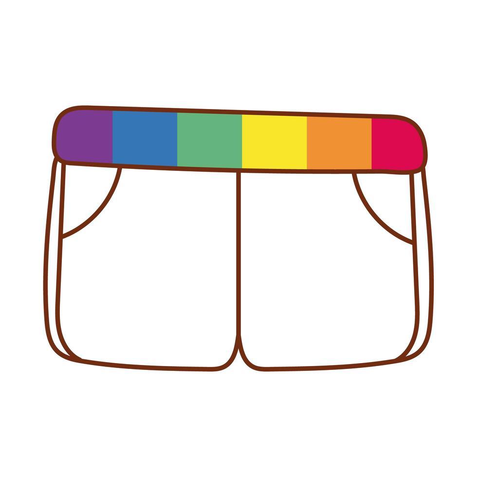 pantaloncini con strisce del gay pride sulla cintura vettore
