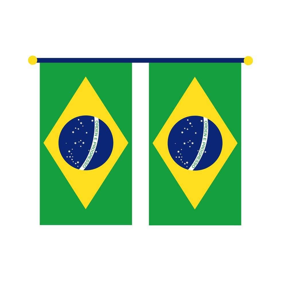 bandiere del Brasile appese icona di stile piatto vettore