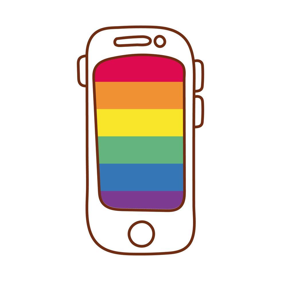 smartphone con i colori del gay pride vettore