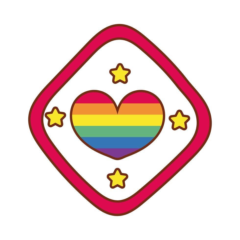cuore con strisce di gay pride nel segnale stradale vettore