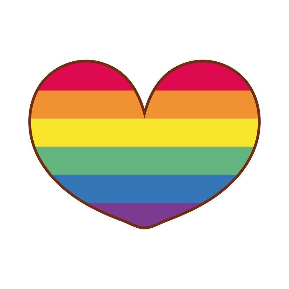 cuore con strisce di gay pride vettore