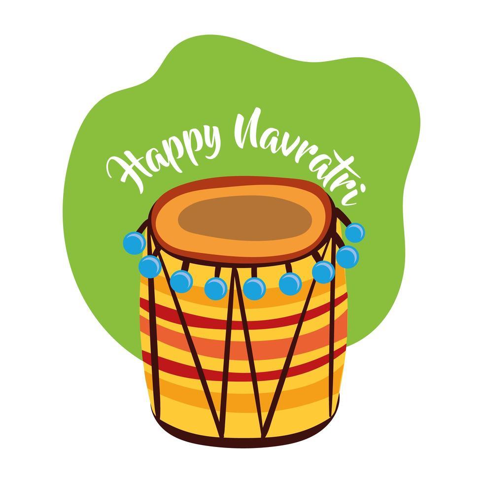 felice celebrazione navratri con stile piatto strumento a tamburo vettore