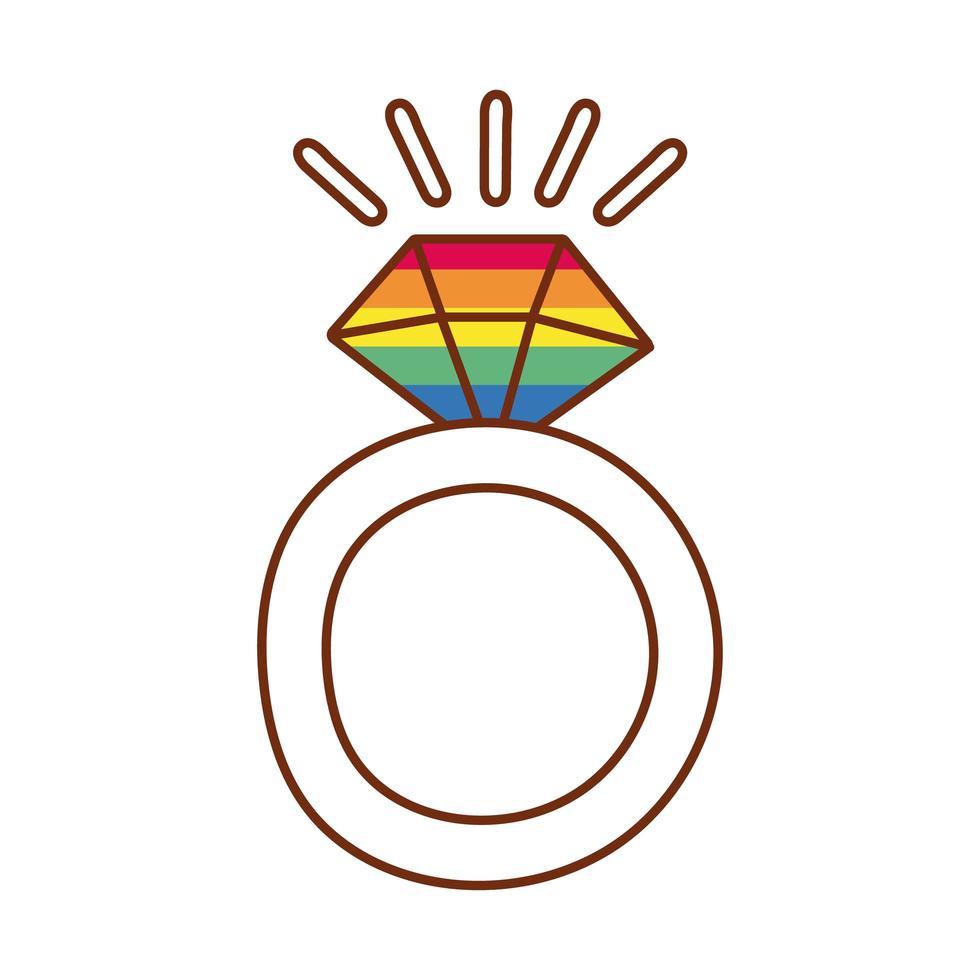 anello di diamanti con i colori del gay pride vettore