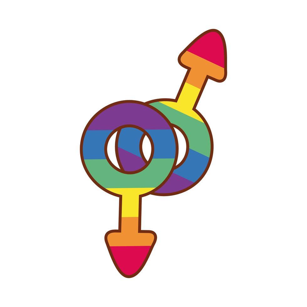 simboli maschili con strisce di orgoglio lgbtiq vettore