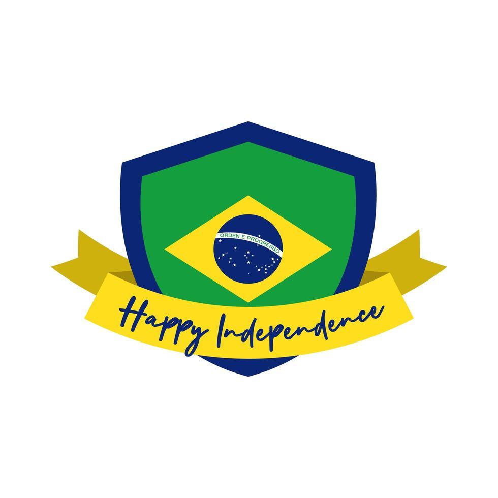 felice giorno dell'indipendenza brasile carta con bandiera nello scudo vettore