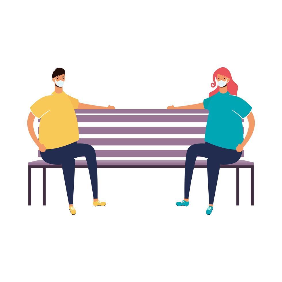 giovane coppia che indossa maschere mediche seduto nella sedia del parco vettore