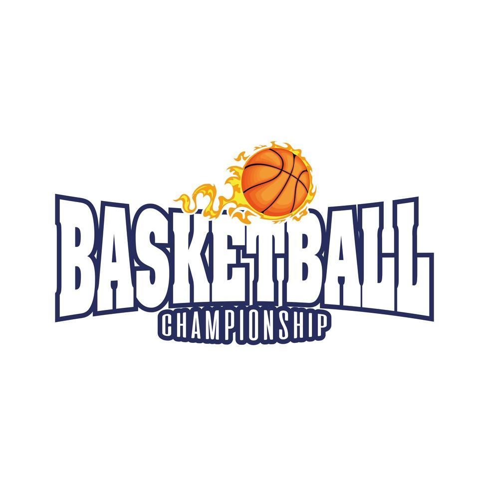 cresta del torneo di basket con pallacanestro in fiamme vettore