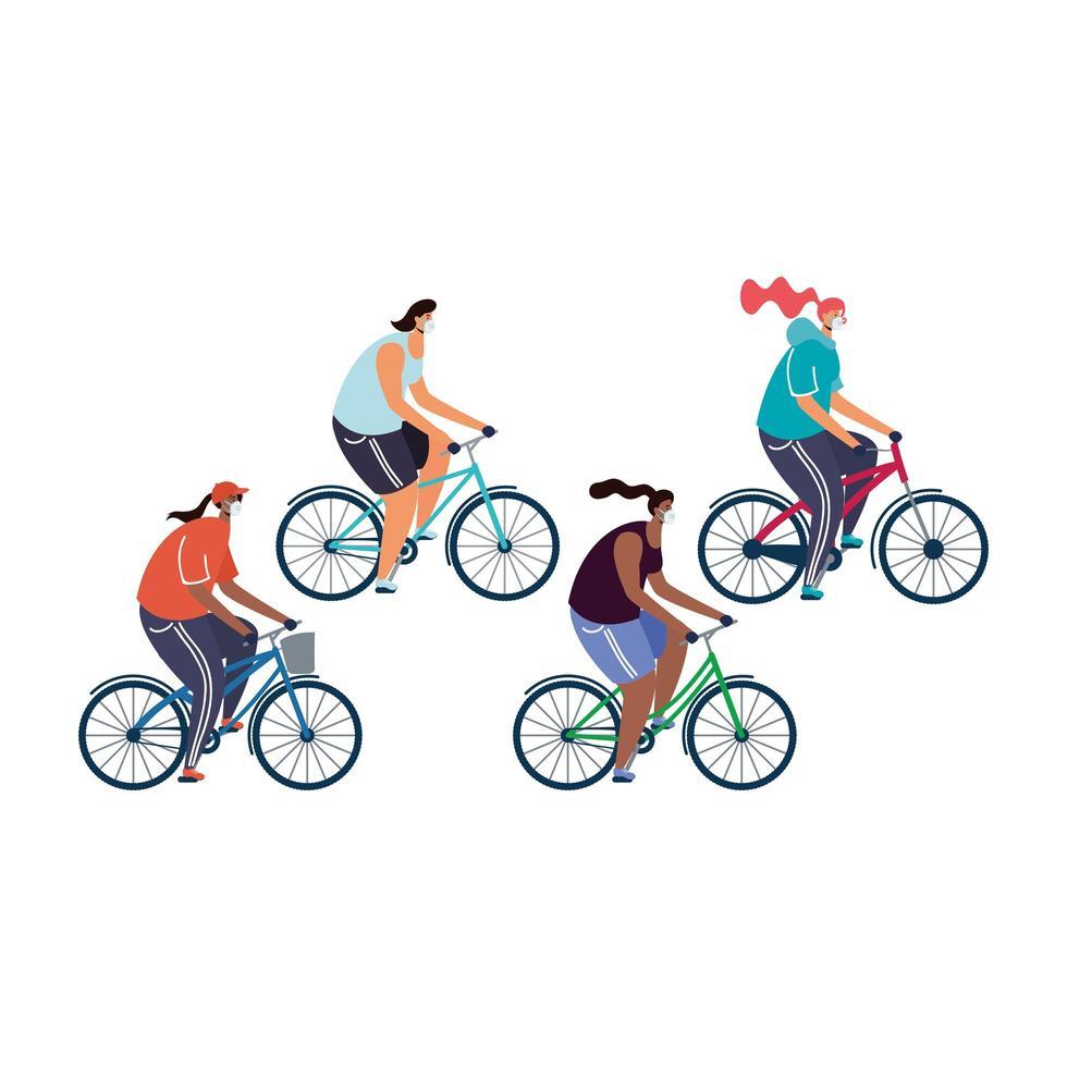 giovani donne che indossano maschere mediche in bicicletta vettore