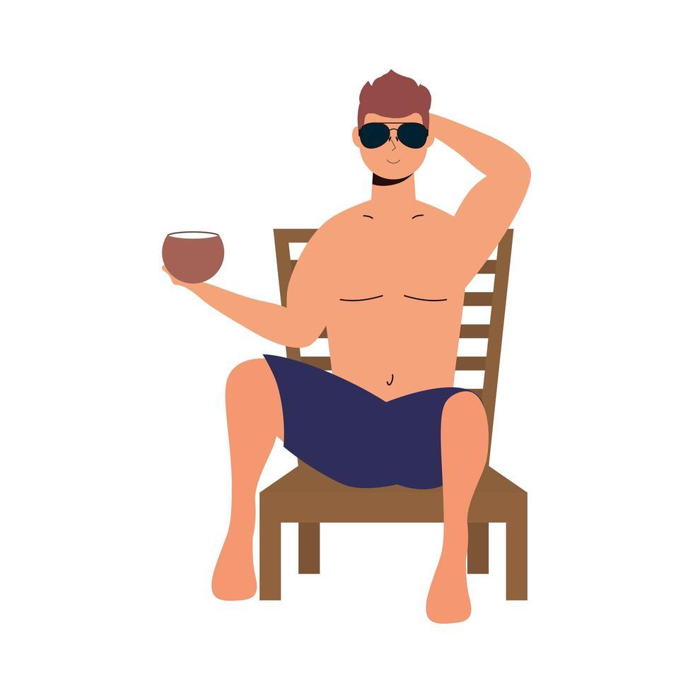 uomo che indossa il costume da bagno seduto sulla sedia a sdraio mangiando cocco vettore
