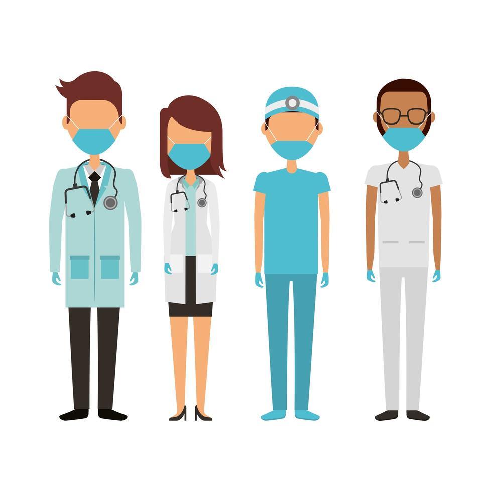giovani medici che indossano maschere mediche vettore