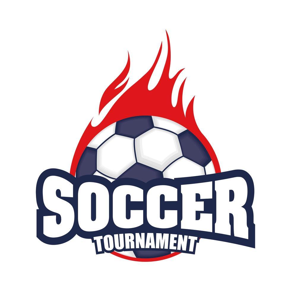 icona del torneo di calcio con palla in fiamme vettore
