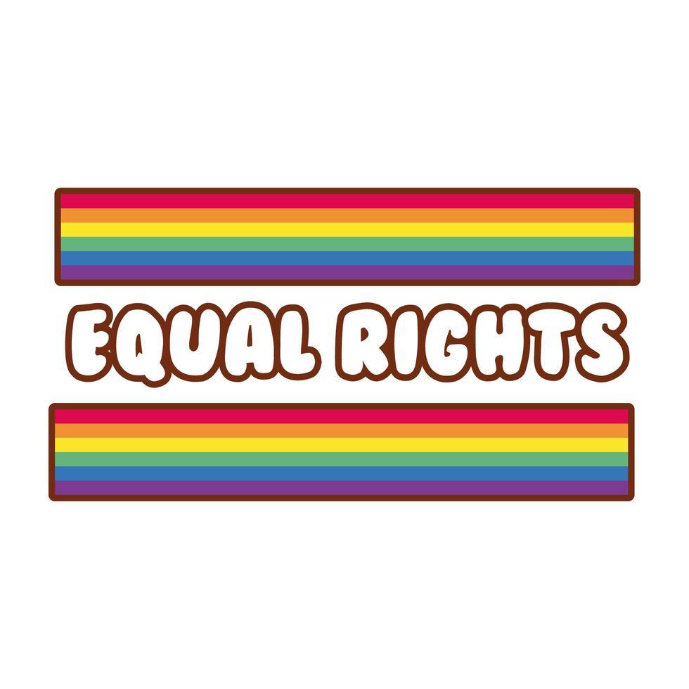 bandiera lgbtiq con scritte sui diritti uguali vettore
