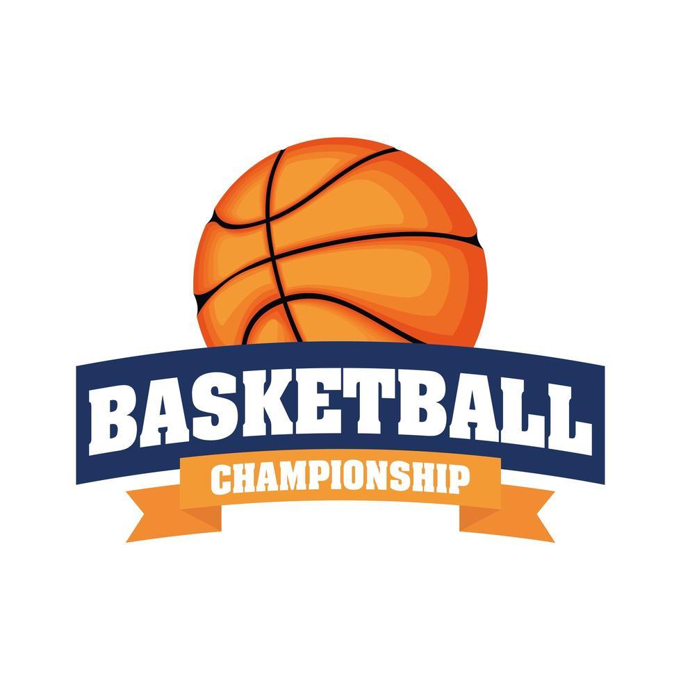 cresta del torneo di pallacanestro con pallacanestro vettore