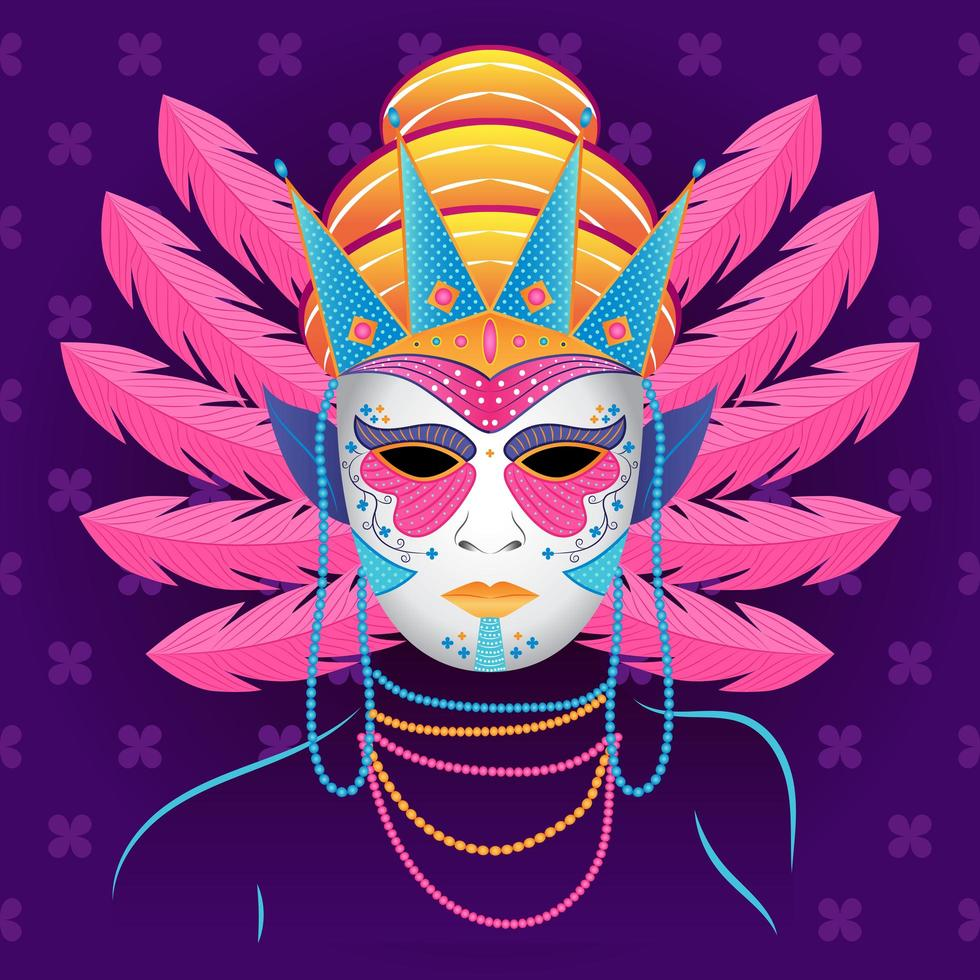 festival di mardigras maschera e perline vettore