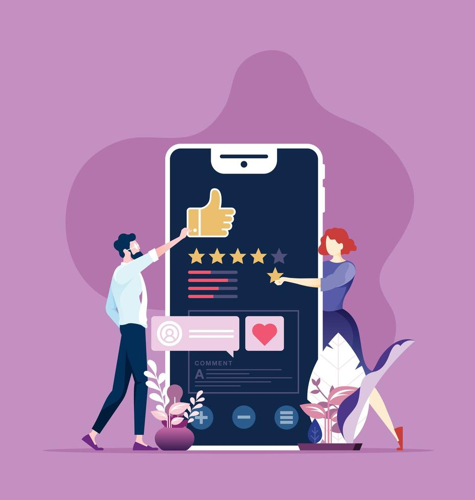 recensione online, feedback, valutazione con il concetto di dispositivo mobile. vettore